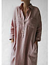 Women\'s Shift Dress Midi Dress Blushing Pink Long Sleeve Solid Color Summer Shirt Collar Casual Loose 2021 S M L XL XXL
