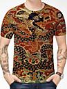 Homens Camiseta Camisa Social Impressao 3D Dragao Grafico Estampas Abstratas 3D Estampado Manga Curta Diario Blusas Estilo Chines Casual Decote Redondo Laranja / Verao