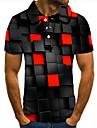 Pánské Golfová košile Tenisové tričko 3D tisk 3D Grafické tisky Tlačítko dolů Krátký rukáv ulice Topy Na běžné nošení Módní Chladný Rubínově červená / Sport