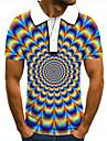 男性用 ゴルフシャツ テニスシャツ 3Dプリント 3D グラフィック ボタンダウン 半袖 ストリート トップの カジュアル ファッション クール ブルー / スポーツ