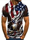 Men\'s Golf Shirt Tennis Shirt 3D Print Graphic Prints Eagle American Flag National Flag Button-Down Short Sleeve Street Tops Casual Fashion Cool Red / Sports