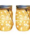 Outdoor Solar String Light Solar Fairy String Light 2pcs 20 LEDs Solar Mason Jar Lid Set Insert Color Changing Garden Patio Wedding Décor Christmas Lights Outdoor Wedding Décor LED Solar Garden Light