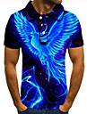Men\'s Golf Shirt Tennis Shirt 3D Print Bird Animal Button-Down Short Sleeve Street Tops Casual Fashion Cool Blue / Sports