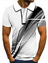 Homens Camisa de golfe Camisa de tenis Impressao 3D Estampas Abstratas Linear Botao para baixo Manga Curta Rua Blusas Casual Moda Legal Branco / Esportes
