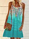Women\'s Strap Dress Knee Length Dress Green Sleeveless Floral Print Fall Summer Elegant 2021 S M L XL XXL 3XL