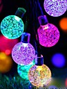 Outdoor Solar LED String Light 7M 50LEDs Bubble Ball Solar Outdoor Waterproof String Lights Warm White Colorful White Fairy Lights String Christmas Wedding Party Garden Holiday Decoration Lights 1Set