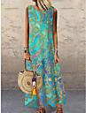 Women\'s Shift Dress Maxi long Dress Blue Purple Orange Green Light Blue Sleeveless Floral Print Print Spring Summer Round Neck Casual 2021 S M L XL XXL 3XL