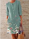spot 2021 spring new women\'s urban casual printing slim mid-length slim round neck mid-waist dress