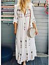 Women\'s Shift Dress Maxi long Dress 3/4 Length Sleeve Pattern Flower Print Spring Summer V Neck Casual Holiday Going out 2021 S M L XL XXL XXXL
