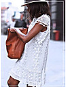 Women\'s Shift Dress Short Mini Dress Sleeveless Solid Color Lace Spring Summer Round Neck Chic & Modern Casual Holiday 2021 S M L XL XXL XXXL 4XL / Cotton / Cotton