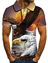 Men\'s Golf Shirt Tennis Shirt 3D Print Graphic Prints Eagle Animal Button-Down Short Sleeve Street Tops Casual Fashion Cool Rainbow / Sports