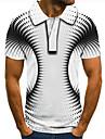 男性用 ゴルフシャツ テニスシャツ 3Dプリント 3D印刷 ジオメトリ ボタンダウン 半袖 ストリート トップの カジュアル ファッション クール ホワイト / スポーツ