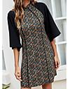 Women\'s A Line Dress Short Mini Dress Green Half Sleeve Print Color Block Patchwork Print Spring Summer Turtleneck Casual 2021 S M L XL / Velvet