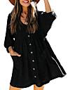 Women\'s Loose Short Mini Dress khaki Dark Green Light Gray Black 3/4 Length Sleeve Solid Color Pocket Spring Summer Casual 2021 S M L XL