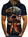 Men\'s Golf Shirt Tennis Shirt 3D Print Graphic Prints Eagle Flag Button-Down Short Sleeve Street Tops Casual Fashion Cool Black / Sports