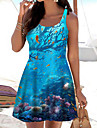 Women\'s A Line Dress Short Mini Dress Blue Sleeveless Print Color Block Print Spring Summer Boat Neck Casual Holiday 2021 S M L XL XXL 3XL