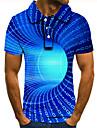 Pánské Golfová košile Tenisové tričko 3D tisk 3D tisk Grafické tisky Geometrie Tlačítko dolů Krátký rukáv ulice Topy Na běžné nošení Módní Chladný Vodní modrá / Sport