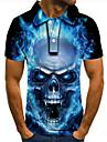 Men\'s Golf Shirt Tennis Shirt 3D Print Graphic Prints Skull Button-Down Short Sleeve Street Tops Casual Fashion Cool Blue / Sports