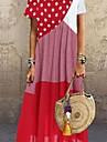 Women\'s A Line Dress Maxi long Dress Short Sleeve Dot Summer Casual Loose Retro S M L XL 2XL 3XL