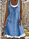 Women\'s Shift Dress Knee Length Dress Sleeveless Pattern Spring Summer Round Neck Chic & Modern Casual / Daily 2021 S M L XL XXL XXXL / Loose