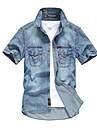 男性用 シャツ ソリッド ボタンダウン 半袖 カジュアル トップの コットン100% ベーシック カジュアル 快適 ブルー ネイビーブルー ライトブルー