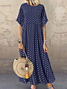 Women\'s Cotton Linen Dress Maxi long Dress Blue Yellow Wine Green Short Sleeve Polka Dot Patchwork Spring Summer Round Neck Casual 2021 L XL XXL 3XL 4XL 5XL