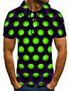 Pánské Golfová košile Tenisové tričko 3D tisk kruh Geometrický Tlačítko dolů Krátký rukáv ulice Topy Na běžné nošení Módní Chladný Trávová zelená / Sport