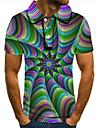 男性用 ゴルフシャツ テニスシャツ 3Dプリント 3D印刷 グラフィック ボタンダウン 半袖 ストリート トップの カジュアル ファッション クール レインボー / スポーツ