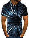 Pánské Golfová košile Tenisové tričko 3D tisk 3D Grafické tisky Podlouhlá Tlačítko dolů Krátký rukáv ulice Topy Na běžné nošení Módní Chladný Vodní modrá / Sport