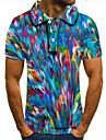 男性用 ゴルフシャツ テニスシャツ 3Dプリント カラーブロック グラフィック ボタンダウン 半袖 ストリート トップの カジュアル ファッション クール ブルー / スポーツ