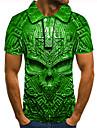 Men\'s Golf Shirt Tennis Shirt 3D Print Graphic Prints Skull Button-Down Short Sleeve Street Tops Casual Fashion Cool Green / Sports