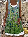 Women\'s Shift Dress Knee Length Dress Green Short Sleeve Floral Patchwork Print Spring Summer Boat Neck Casual Holiday 2021 S M L XL XXL 3XL