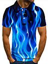 Pánské Golfová košile Tenisové tričko 3D tisk Grafické tisky Plamen Tlačítko dolů Krátký rukáv ulice Topy Na běžné nošení Módní Chladný Vodní modrá / Sport