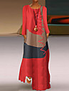 Women\'s Swing Dress Maxi long Dress Gray Khaki White Red Long Sleeve Color Block Geometric Color Block Spring Summer Round Neck Chic & Modern Casual Loose 2021 S M L XL XXL 3XL 4XL 5XL