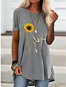 Női Pólóruha Rövid mini ruha Rövid ujjú Virágos Nyomtatott Tavasz Nyár Kerek Alkalmi / Napi Bő 2021 S M L XL XXL XXXL