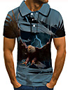 Men\'s Golf Shirt Tennis Shirt 3D Print Graphic Prints Eagle Animal Button-Down Short Sleeve Street Tops Casual Fashion Cool Blue / Sports