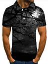 Pánské Golfová košile Tenisové tričko 3D tisk Grafické tisky Les Tlačítko dolů Krátký rukáv ulice Topy Na běžné nošení Módní Chladný Černá / Sport