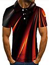 Herr Golftröja Tennisskjorta 3D-tryck Grafiska tryck Linjär Button-Down Kortärmad Gata Blast Ledigt Mode Häftig Svart / Sport