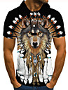 Men\'s Golf Shirt Tennis Shirt 3D Print Graphic Prints Wolf Button-Down Short Sleeve Street Tops Casual Fashion Cool Black / Sports