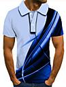 Men\'s Golf Shirt Tennis Shirt 3D Print Graphic Prints Linear Button-Down Short Sleeve Street Tops Casual Fashion Cool Gray / Sports