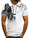 Pánské Golfová košile Tenisové tričko 3D tisk Grafické tisky Inkoustová malba Tlačítko dolů Krátký rukáv ulice Topy Na běžné nošení Módní Chladný Bílá / Sport