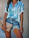 여성용 블라우스 셔츠 컬러 블럭 타이-다이 단추 셔츠 카라 스트리트 쉬크 탑스 푸른 와인 그레이