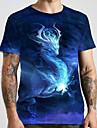 Hombre Unisexo Tee Camiseta Camisa Impresion 3D Dragon Estampados Tallas Grandes Estampado Manga Corta Casual Tops Basico De Diseno Grande y alto Escote Redondo Azul Piscina / Verano