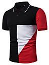 Homens Camisa de golfe Camisa de tenis Retalhos Manga Curta Diario Blusas Preto Vermelho