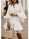 Women\'s Sheath Dress Short Mini Dress White Blue Khaki Long Sleeve Solid Color Lace Fall Summer Shirt Collar Casual 2021 S M L XL XXL 3XL