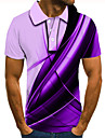 男性用 ゴルフシャツ テニスシャツ 3Dプリント グラフィック 直管形 ボタンダウン 半袖 ストリート トップの カジュアル ファッション クール パープル / スポーツ