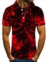 Men\'s Golf Shirt Tennis Shirt 3D Print Color Block Graphic Prints Button-Down Short Sleeve Street Tops Casual Fashion Cool Red / Sports