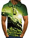 Pánské Golfová košile Tenisové tričko 3D tisk Grafické tisky Mraky Tlačítko dolů Krátký rukáv ulice Topy Na běžné nošení Módní Chladný Trávová zelená / Sport