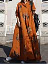 Women\'s Swing Dress Maxi long Dress Long Sleeve Floral / Botanical Fall Spring Casual Cotton 2021 S M L XL XXL XXXL 4XL 5XL