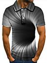 Pánské Golfová košile Tenisové tričko 3D tisk 3D tisk Geometrie Tlačítko dolů Krátký rukáv ulice Topy Na běžné nošení Módní Chladný Šedá / Sport